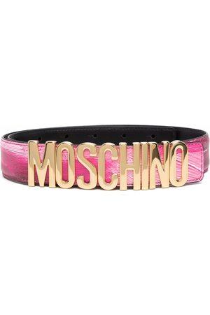 Moschino Logo-plaque brushed belt