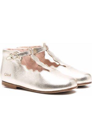 Chloé Scallop-edge T-bar metallic flat shoes