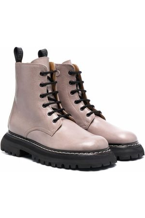 GALLUCCI TEEN chunky-sole leather boots - Neutrals