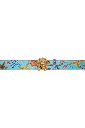 VERSACE Reversible Blue & Multicolor Trésor De La Mer 'La Medusa' Belt