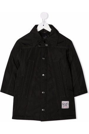 Nº21 Logo-patch snap-fastening coat