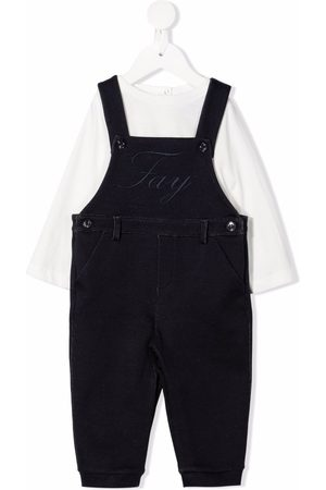 FAY KIDS Logo-embroidered dungarees