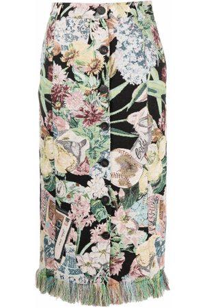 Golden Goose Women Printed Skirts - Floral-print fringed pencil-skirt - Neutrals