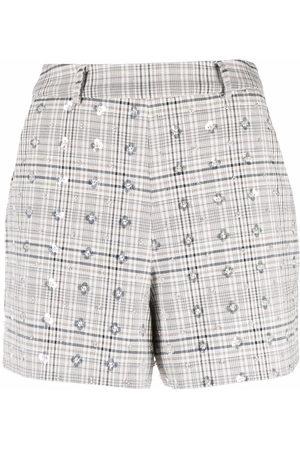 Self-Portrait Sequined plaid shorts - Grey