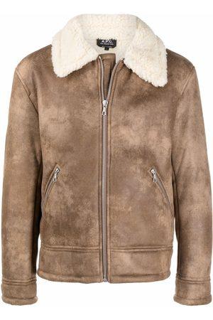 A.P.C. Contrasting collar zipped jacket - Neutrals