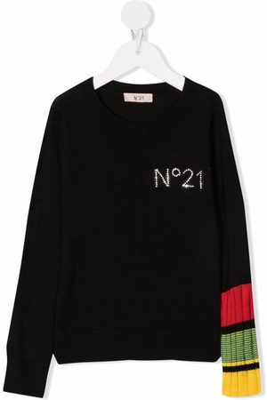 Nº21 Kids Girls Hoodies - Rhinestone logo jumper