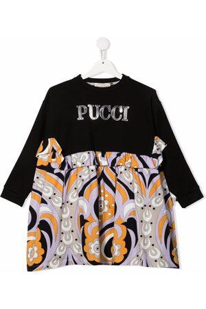 Emilio Pucci Junior Logo-print ruffled-trim dress