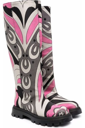Emilio Pucci Junior Abstract-print knee-length boots