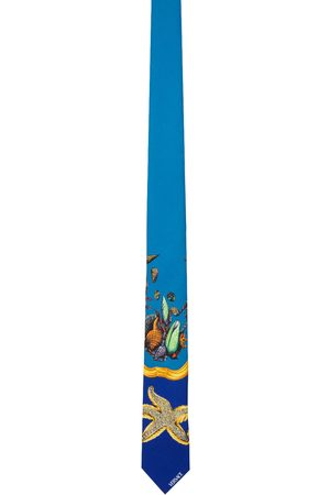 VERSACE Blue & Yellow Silk Trésor De La Mer Tie