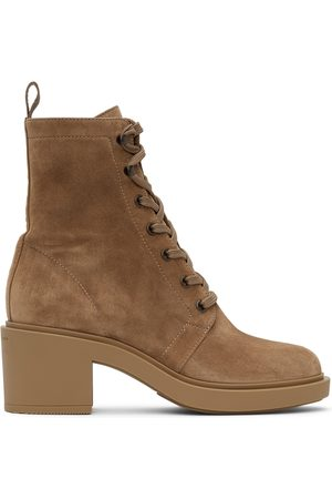 Gianvito Rossi Women Lace-up Boots - Tan Suede Foster Lace-Up Boots