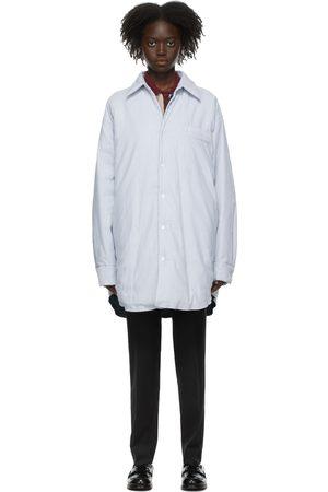 Maison Margiela White & Blue Stripe Padded Shirt Jacket