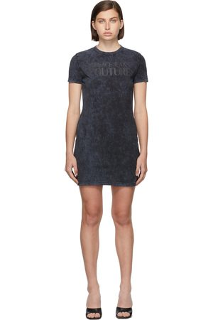 Versace Jeans Couture Women Casual Dresses - Grey Jersey Logo Crinkle Dress