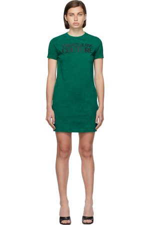 Versace Jeans Couture Green Jersey Logo Crinkle Dress