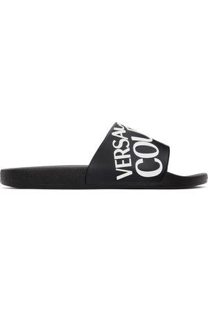 Versace Jeans Couture Black Rubber Logo Slides