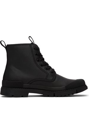 Versace Jeans Couture Black Leather Logo Ankle Boots