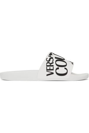 VERSACE White Rubber Logo Slides