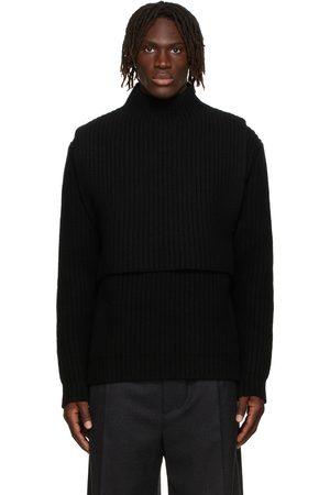 Jil Sander Black Wool & Cashmere High Neck Bib Sweater