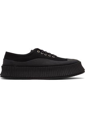 Jil Sander Black Canvas Platform Sneakers