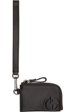 Armani Men Wallets - Brown Zipped Wristlet-Style Card Holder