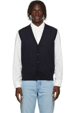 Z Zegna Men Tank Tops - Navy Wool Jersey Vest