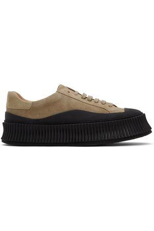 Jil Sander Men Platform Sneakers - Khaki Suede Platform Sneakers
