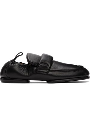 Dries Van Noten Black Grained Leather Padded Loafers