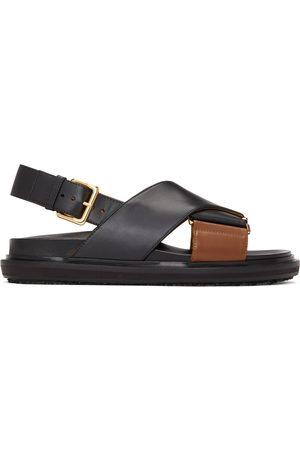 Marni Black & Brown Fussbett Sandals
