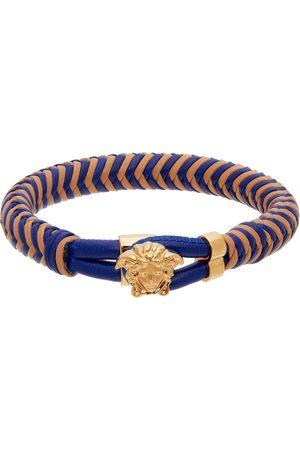 VERSACE Blue & Beige Leather Medusa Bracelet