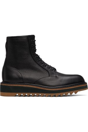 Dries Van Noten Black Grained Leather Lace-Up Boots