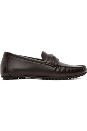 Versace Brown Leather Penny Loafers