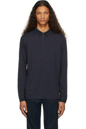 Veilance Navy Wool Frame Long Sleeve Polo