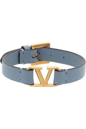Valentino Garavani Women Bracelets - Blue Leather VLogo Bracelet
