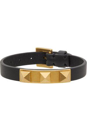 Valentino Garavani Black Leather Rockstud 3 Stud Bracelet