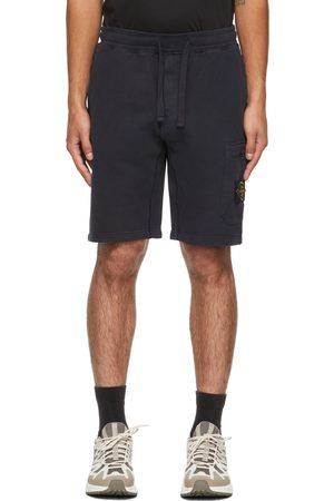 Stone Island Navy Cotton Fleece Brushed Shorts