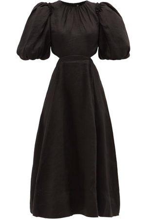 AJE Relic Beaded Cutout Linen-blend Midi Dress - Womens