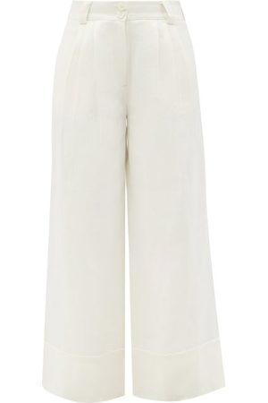 AJE Universal Wide-leg Hemp Trousers - Womens - Ivory