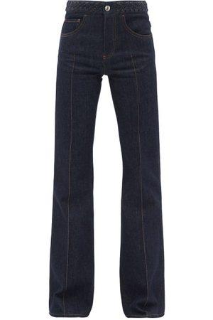 Chloé Women High Waisted - Braided High-rise Flared-leg Jeans - Womens - Dark Denim