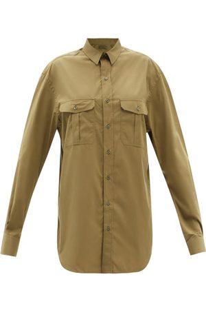WARDROBE.NYC Release 06 Cotton Mini Shirt Dress - Womens - Khaki