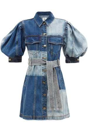 AJE Puff-sleeved Patchwork Denim Dress - Womens - Mid Denim