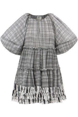 AJE Memento Puff-sleeve Check Voile Mini Dress - Womens - Grey Multi