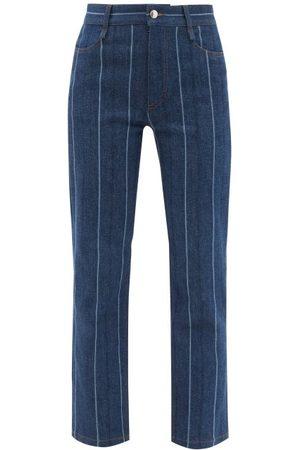 Chloé High-rise Striped Cropped Straight-leg Jeans - Womens - Denim