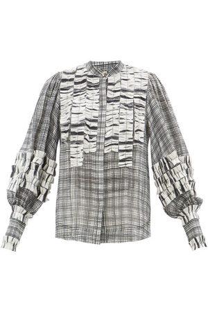 AJE Memento Ruffle-appliqué Check Voile Blouse - Womens - Grey Multi