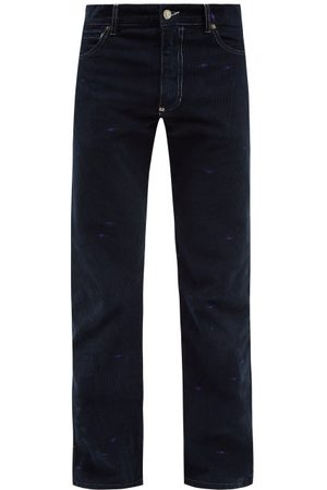 Phipps Embroidered Organic Cotton-corduroy Boot-cut Jeans - Mens - Navy