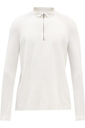 Jacques Zipped Long-sleeved Jersey Polo Shirt - Mens - Ivory