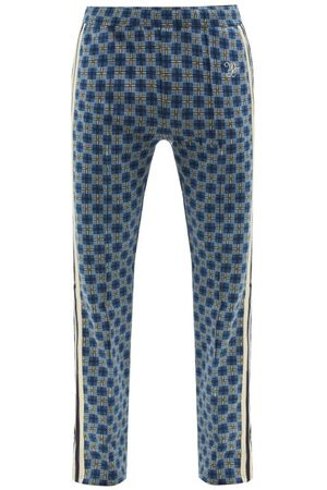 WALES BONNER Men Sweatpants - London Checked Organic-cotton Track Pants - Mens