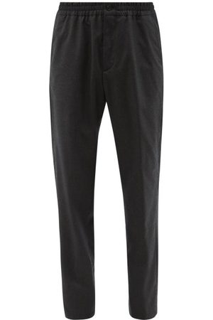 Dunhill Elasticated-waist Wool-flannel Trousers - Mens - Grey