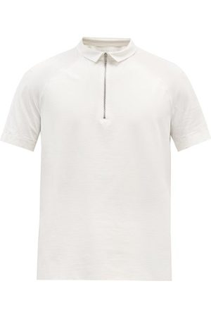 Jacques Zipped Jersey Polo Shirt - Mens - Ivory