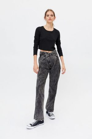 Urban Renewal Recycled Overdyed Acid Wash Crossover Jean