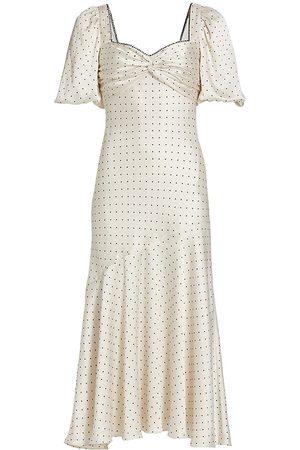 ML Monique Lhuillier Dotted Satin Twist Midi-Dress