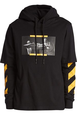 """Off-White Men Hoodies - Carvaggio's """"St. Jerome Writing"""" Layered Cotton Hoodie"""